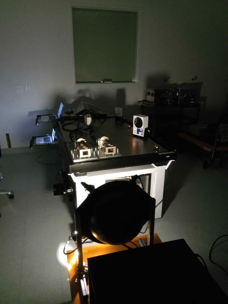 """As part of the team's calibration activities, the Mastcam-Z flight cameras took images of a bright """"integrating sphere"""" light source in the clean room at Malin Space Science Systems in May, 2019."""