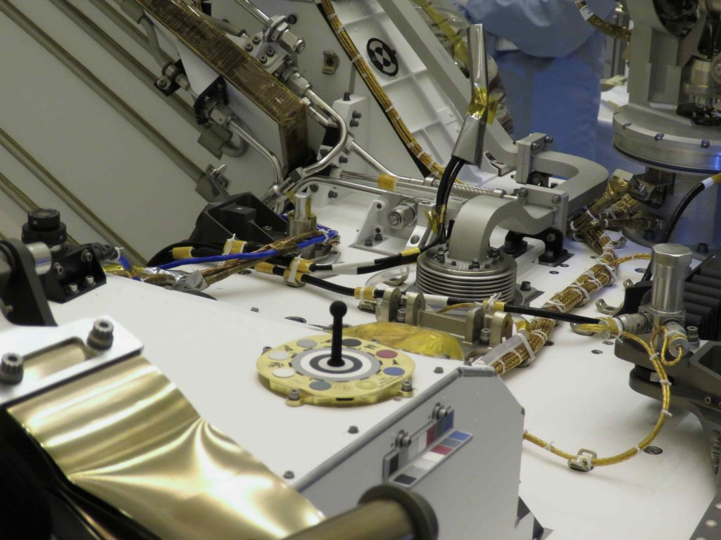 Closeup of the Mastcam-Z primary and secondary color and grayscale calibration targets, mounted on the deck of the Mars 2020 mission's Perseverance rover during final close-out testing at the Kennedy Space Center in April, 2020.